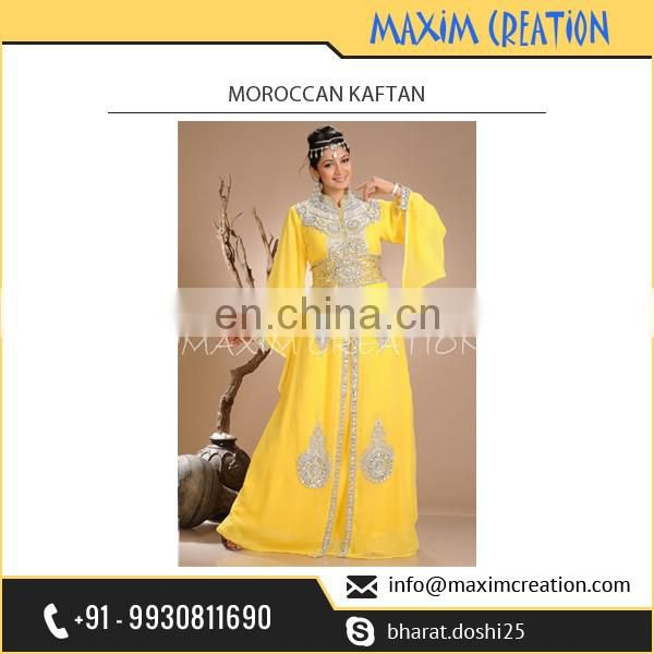 Beautiful Customized Long Moroccan Kaftan for Special Functions at Amazing Rate