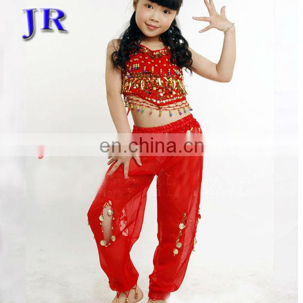 Turkish professional children belly dance costume with gold coins top and hollow pant ET-001#