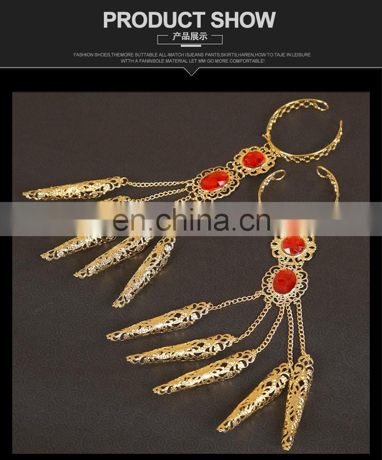 Tribal indian style stage gold long belly dance finger ring bracelet jewelry P-9042#