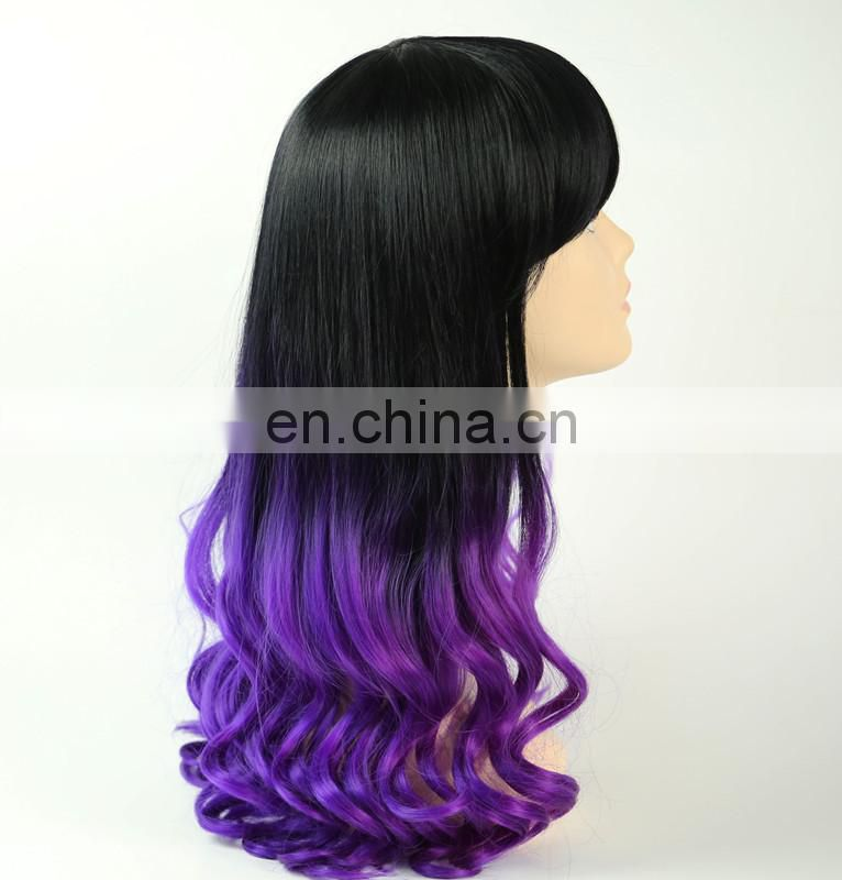cheap angel wave ombre color cosplay heated resistant fashion natural synthetic box braid hair wig for women