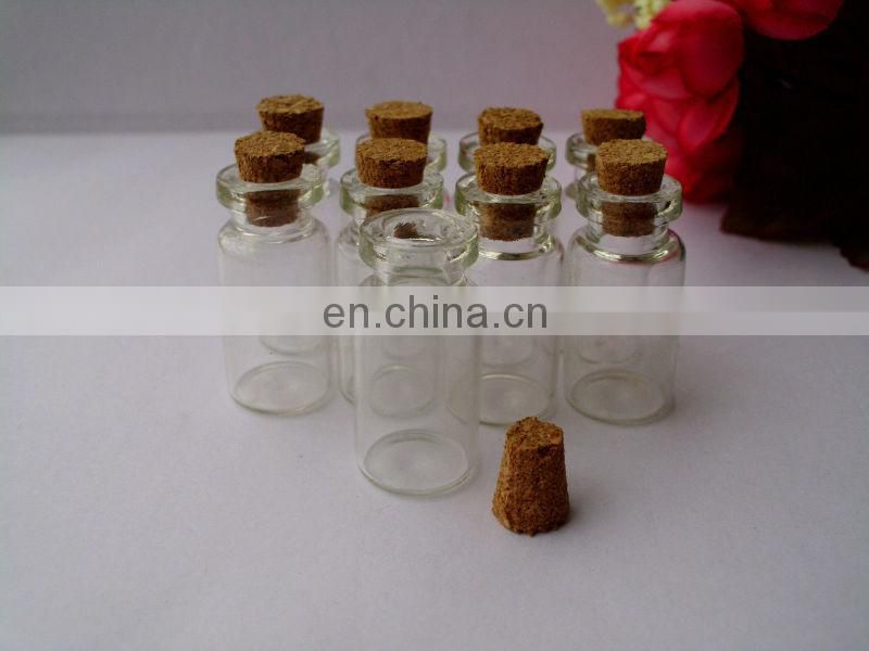 SMALL GLASS VIALS WITH CORK TOPS