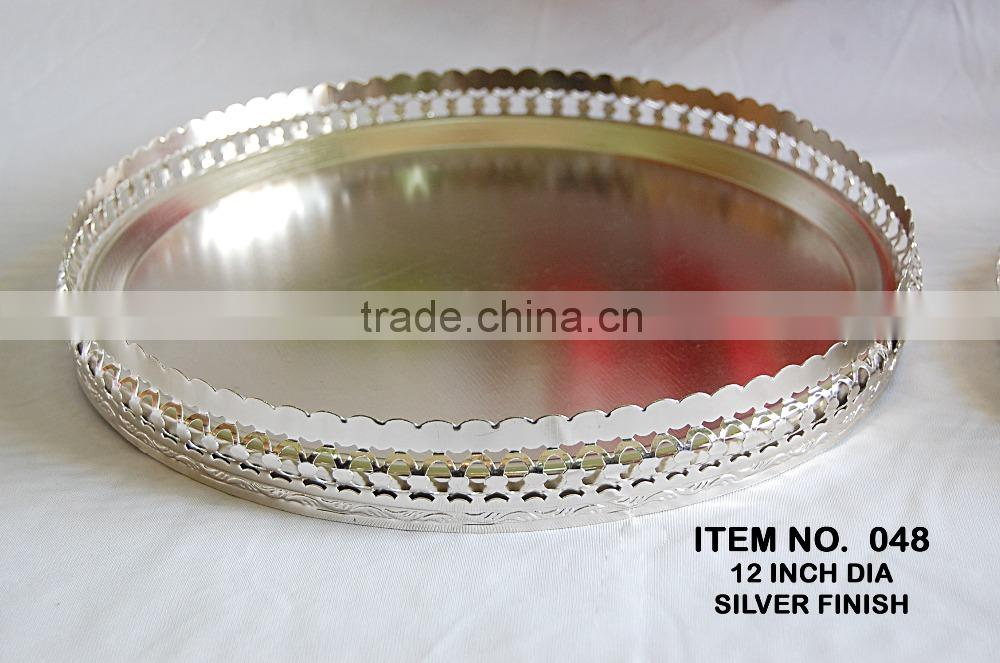 Iron Metal Mirror Serving Tray For Dry Fruits And Cookies With Brass Handle And Brass Legs For Wedding and Party Gifts