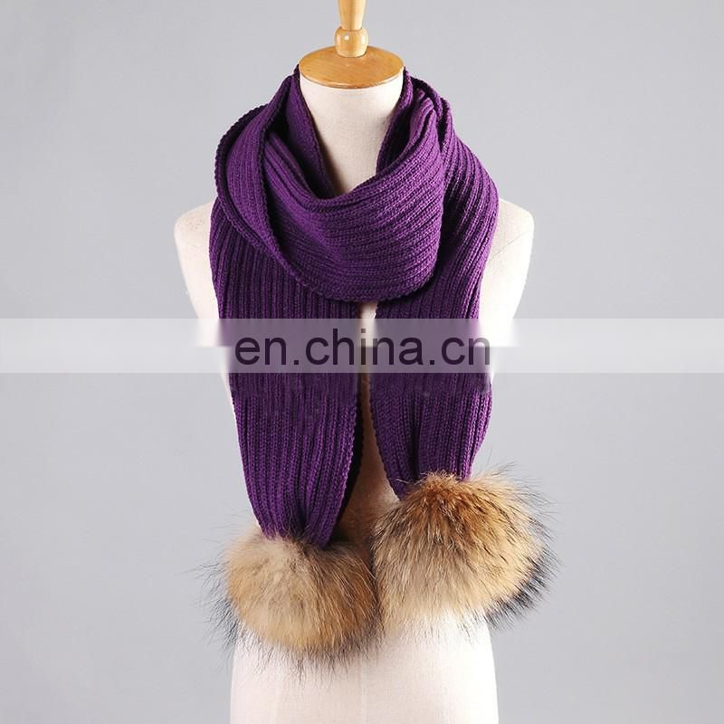 Classical style stripe pattern winter lady fur pompom scarf wholesale