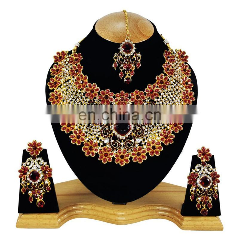 Beautiful Floral Designer Dark-Red Color Gold Plated Kundan Zerconic Necklace Earrings Tikka