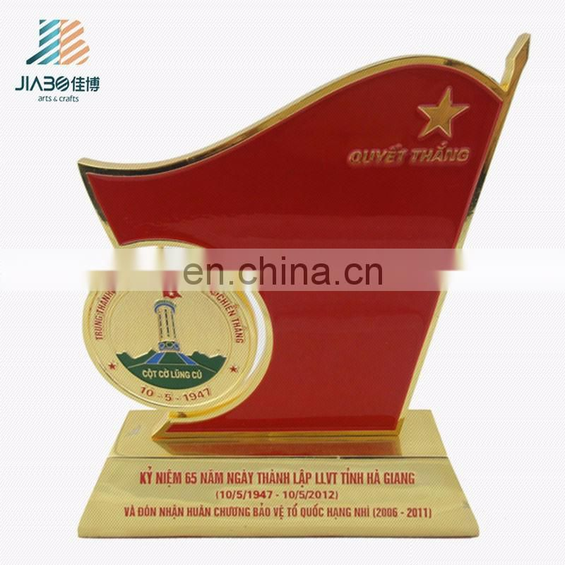 High quality 50 number 24k gold plated metal trophy cup with red paint colors