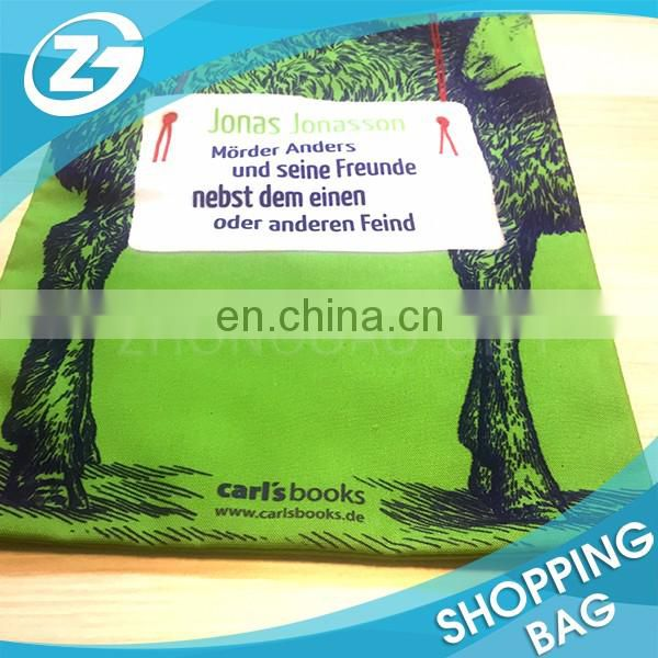 Cheap and Popular Wholesale Story Book Cover Printing Small Green Long Shoulder Polyester Canvas Tote Bag for Kids Readers