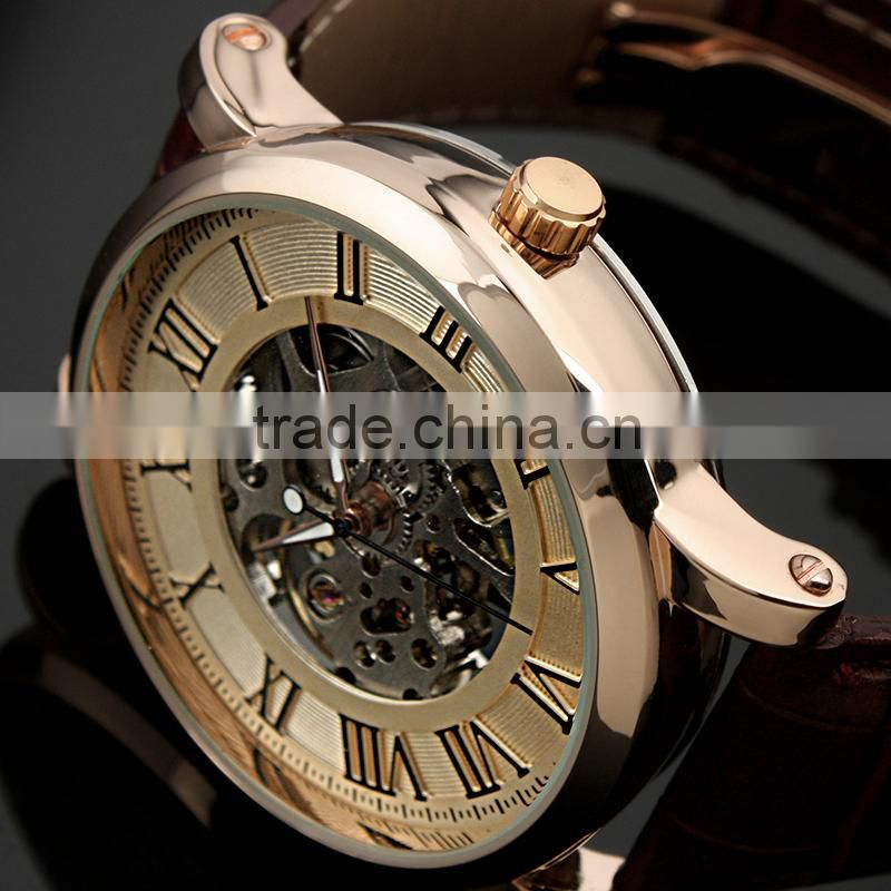 WM273-ESS Mens Antique Skeleton Roman Mechanical Watch Bronze Watch