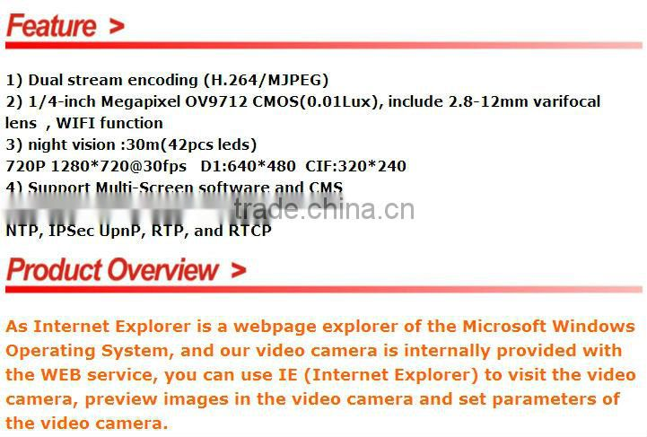 IPS 1/4inch 1 0megapixel mini bullet security support ONVIF protocol and  P2P IPS-E01311M