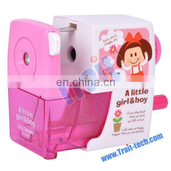 Lovely A Little Girl & Boy Series Semi Manual Plastic Pencil Sharpener with Clamp No.0610