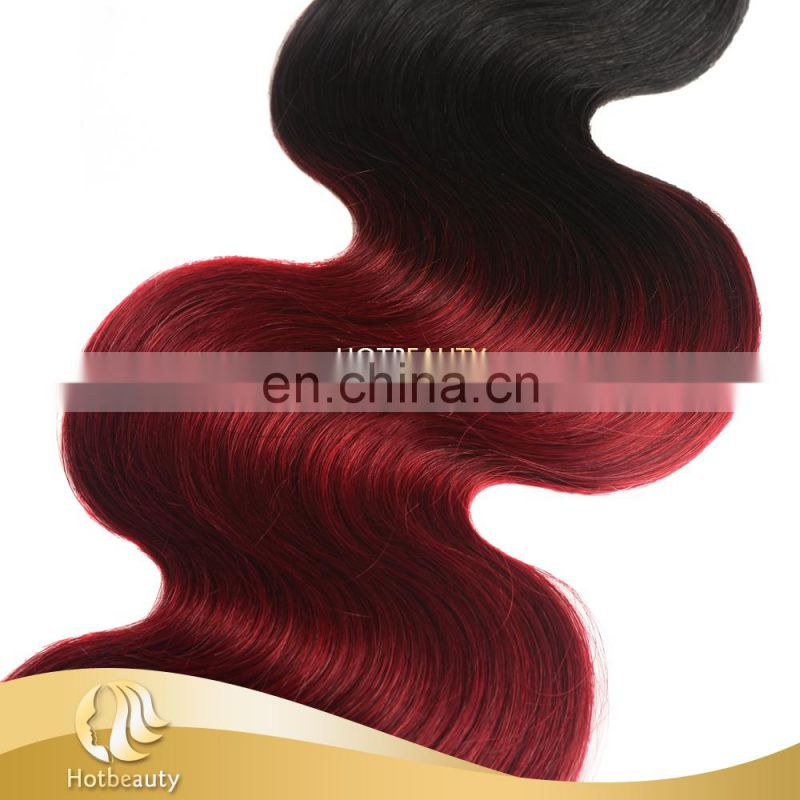 2017 new arrival colored peruvian hair, black and red color hair