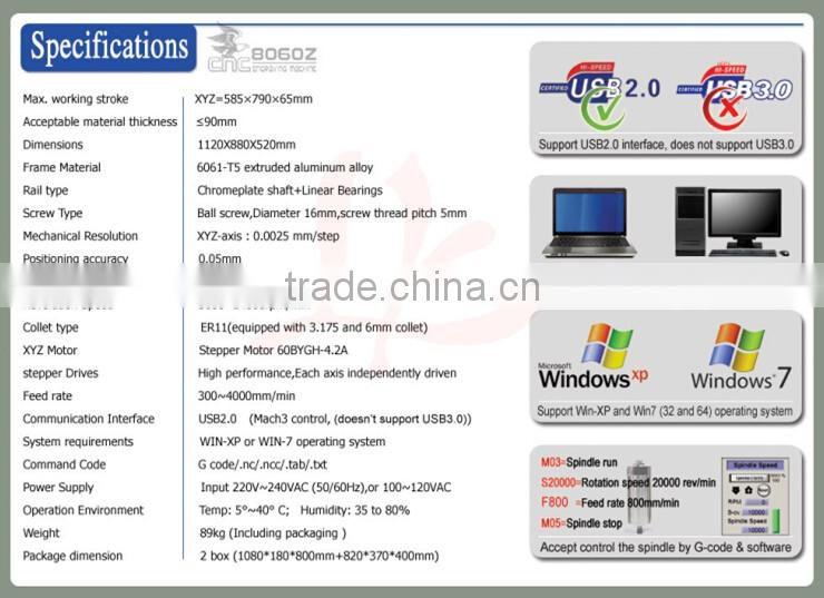 NEW !!! USB Port 1500W cnc router milling machine 6080Z-USB