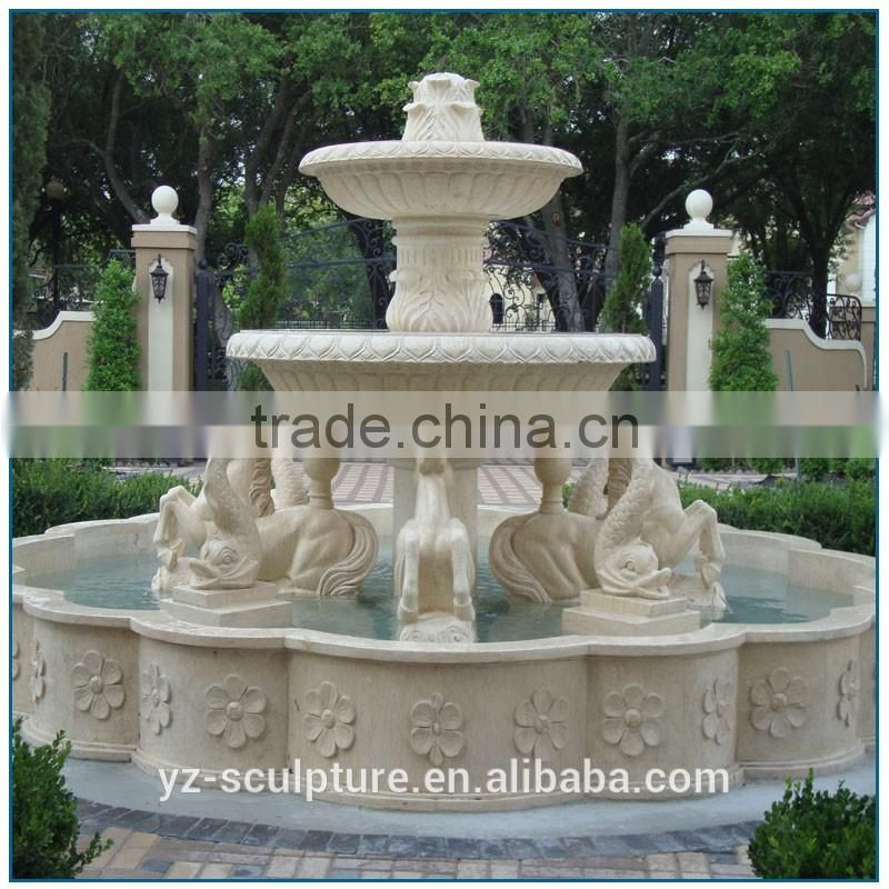 outdoor large stone water fountain with fish statue for sale