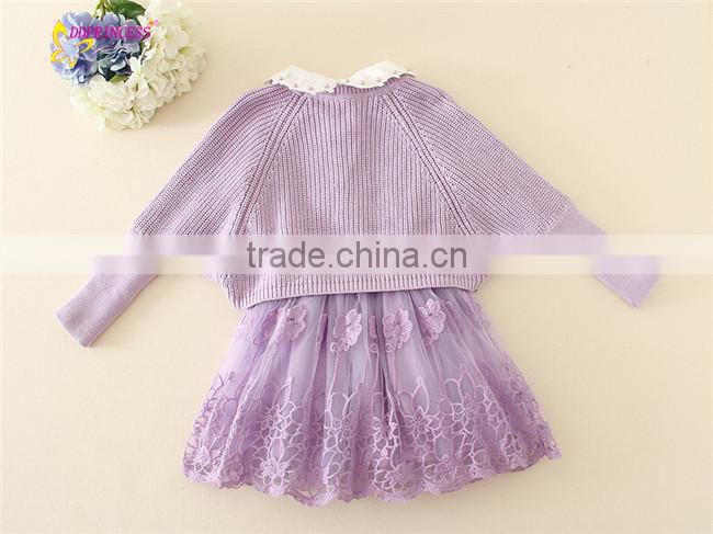 lovely girls winter sweater dress set long sleeve dress+ sweater antumn winter style frock suits for baby girl