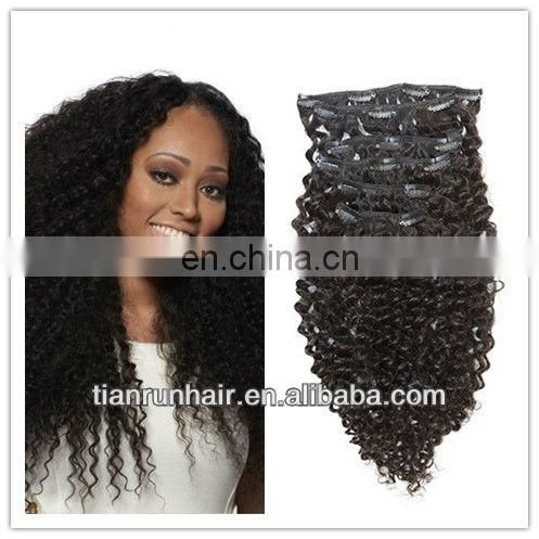 one piece clip in afro kinky curl sew in weft hair weave extensions for black women