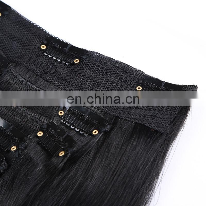 100 brazilian human hair silky straight black clip in hair extensions