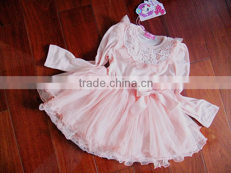 New Arrivals 2016 Kids Fashion Clothes Baby Wear Clothing Autumn Dress Lace Girl Princess Dress