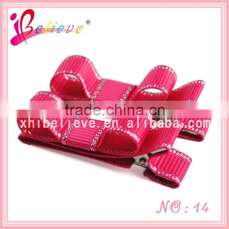 China Yiwu market headwear wholesale mini ribbon bows with flower,floral grosgrain bow hair clips