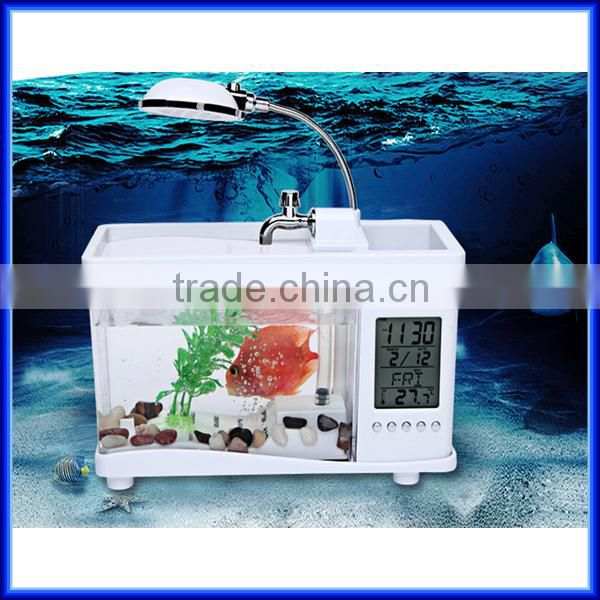 Mini desktop fish tank with storage box,USB electronic desktop fish tank with led lamp,plastic USB electronic desktop fish tank