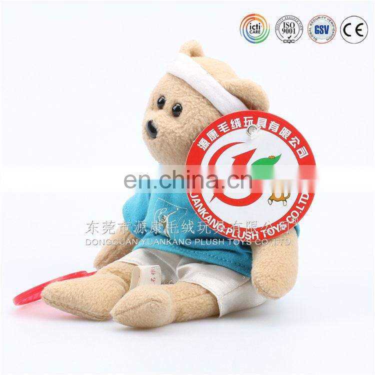 Cute stuffed badminton sport bear plush toys