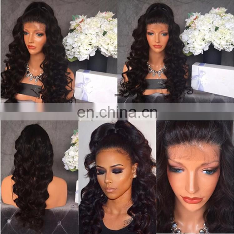 Free Parting Virgin Indian Human Hair Wig 150% Density Natural Black Body Wave Full Lace Wig For Black Women