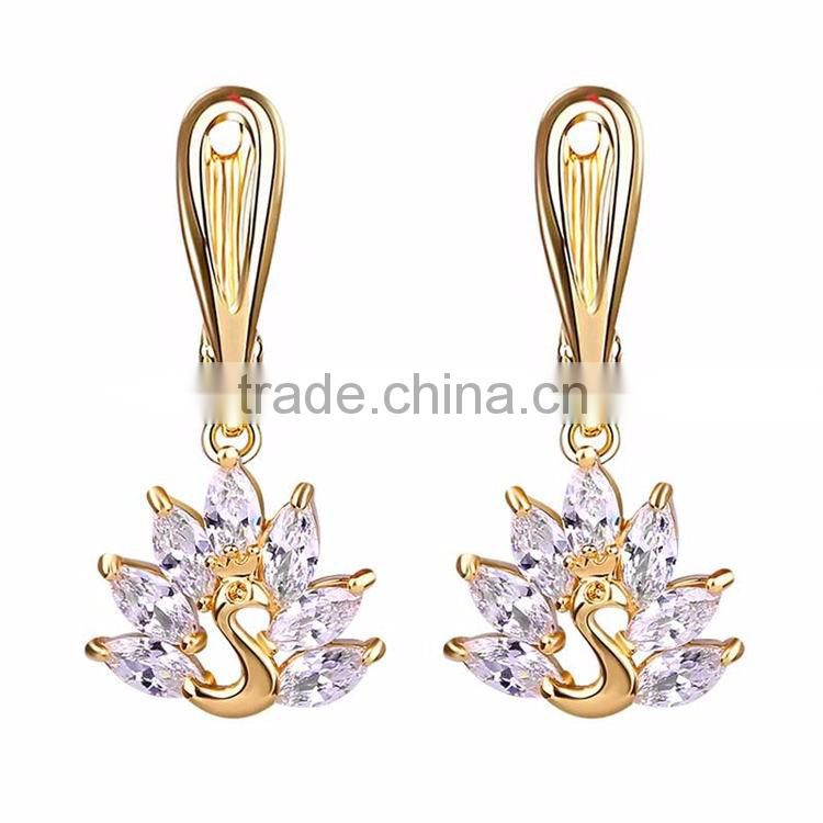 Gold and silver two colors zircon beautiful latest antique design models peacock earring for girls