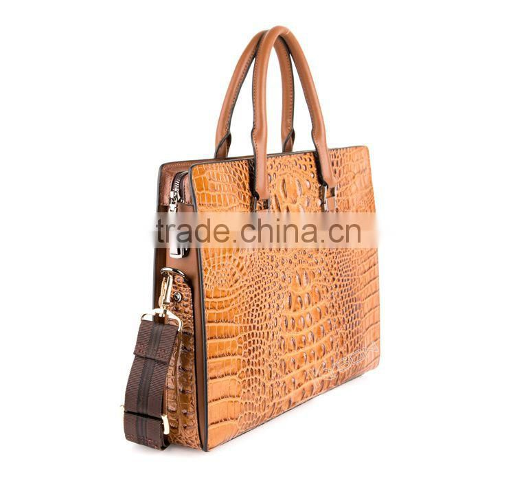 Anti-theft closure messenger bag men's business casual crocodile skin leather briefcase shoulder bag wholesale prices