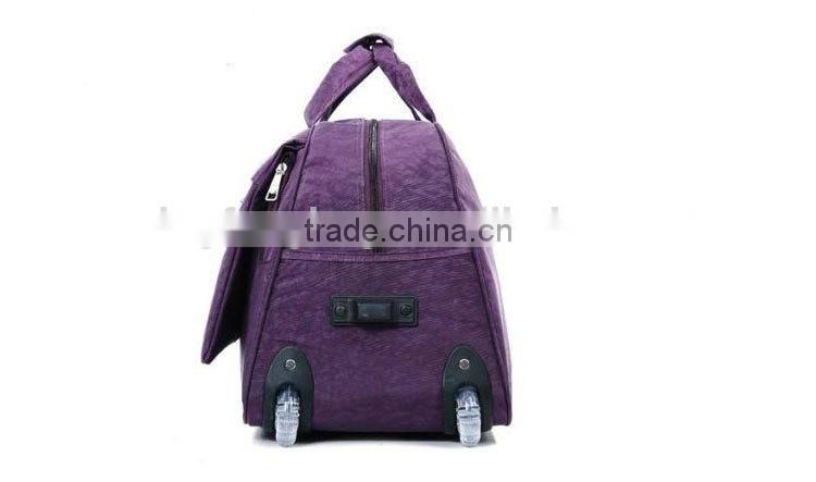 China Heavy Duty Polyester Purple Trolley Travel Bags LXB012