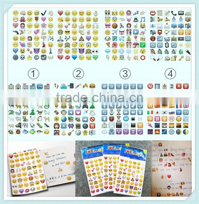 Hugs and Kisses Pack of 288 Waterproof Removable Emoji Stickers
