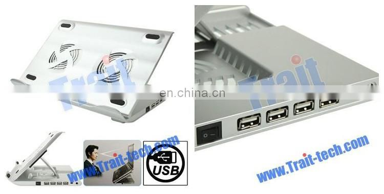 HH-S1001 4 USB 2.0 HUB Metal Feels Design Powerful Laptop USB Cooler Pad