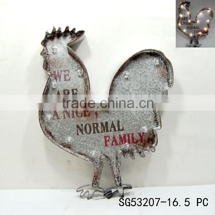 home decorative art lighted wall hanging rooster