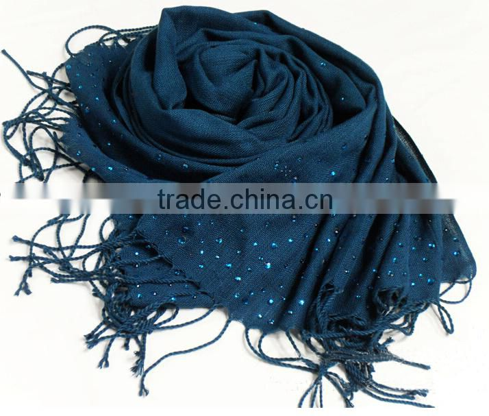 Best Selling With Hot Fix Rhinestones On Fashion Women Solid Acrylic Tassel Winter Scarf