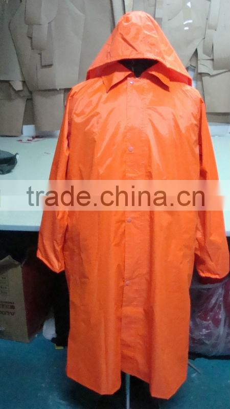 100% polyester PU PVC coating long raincoat outdoor