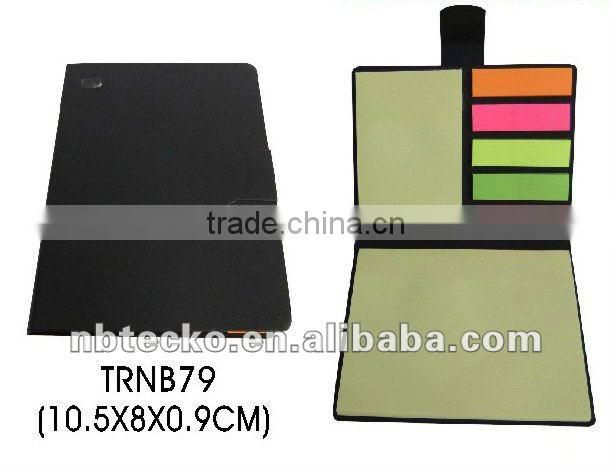 Recycled paper cover notebook with memo stick and card holder for promotion