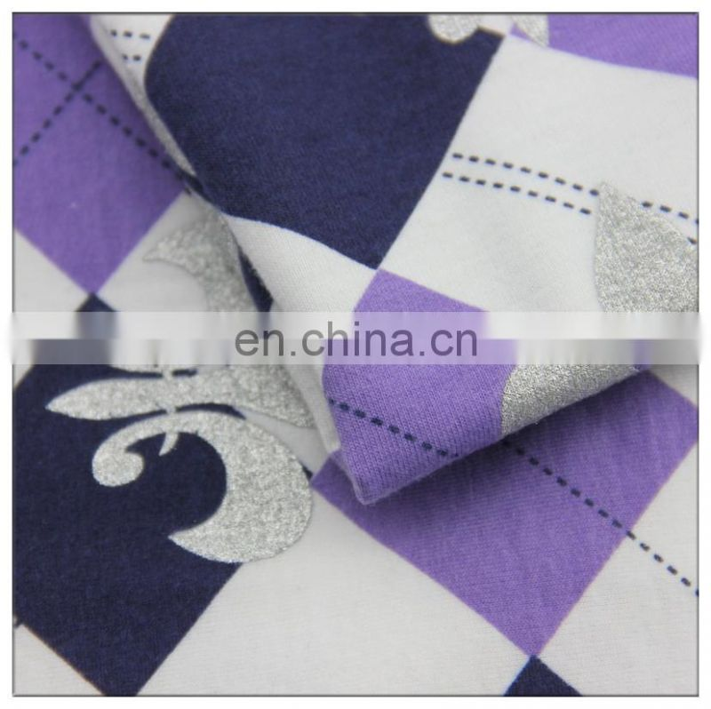 32s t/c knitting printed and foil fabric fashion