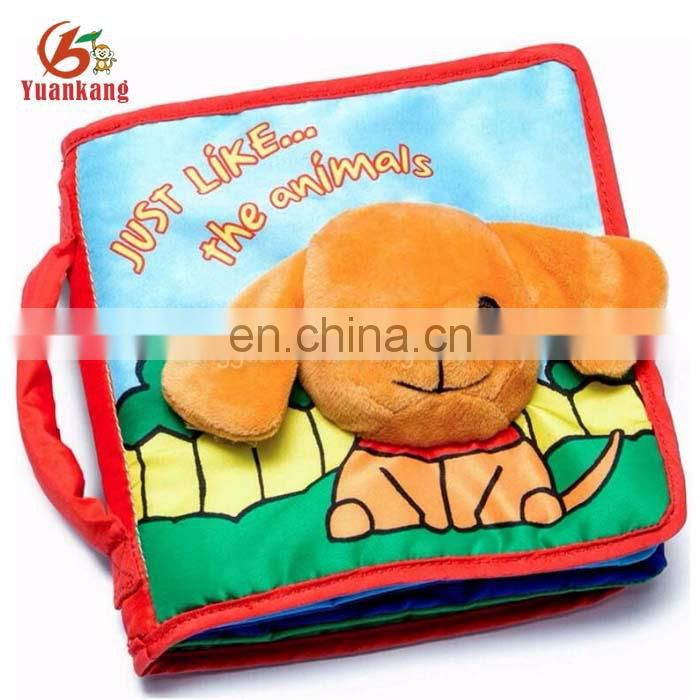 3D stuffed animal dog head baby cloth book for early educational learning