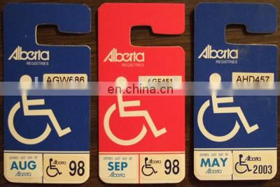 Hang tag parking permit for disabled