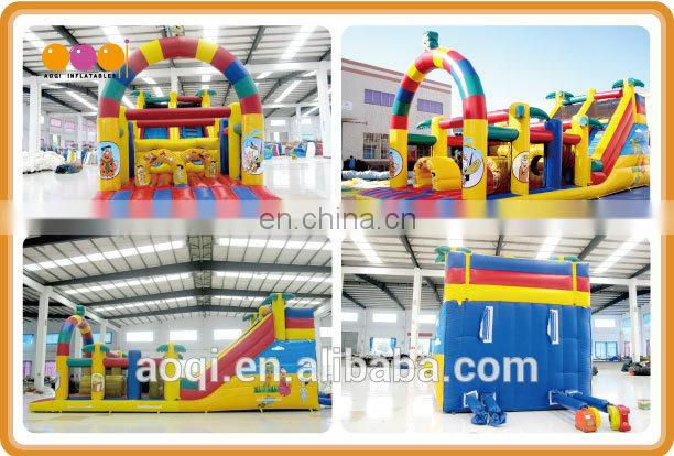 AOQI new products hot sale giant inflatable obstacle funny inflatable obstacle with climbing wall and slide