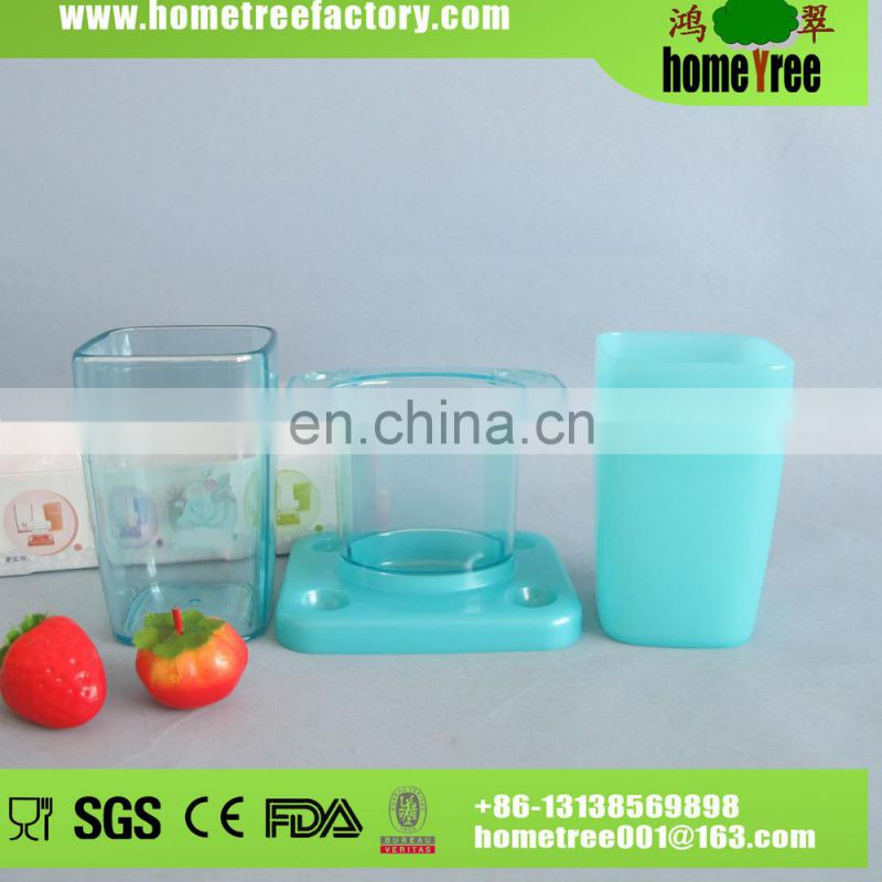 Wholesale Plastic Square Bathroom Set/Sanitary Toothbrush Holder With 2 Cups