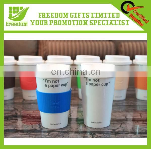 Hot Sale Wholesale Ceramic Coffee Mug With Silicone Lid Cutsom Logo Printed