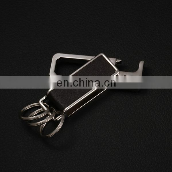 CUSTOMIZED SALE ROTATABLE LEATHER BOTTLE OPENER WITH KEYRING