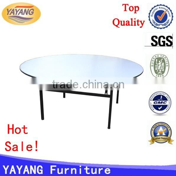 Outdoor plastic modern wooden dining room restaurant furniture round banquet folding table legs cloth