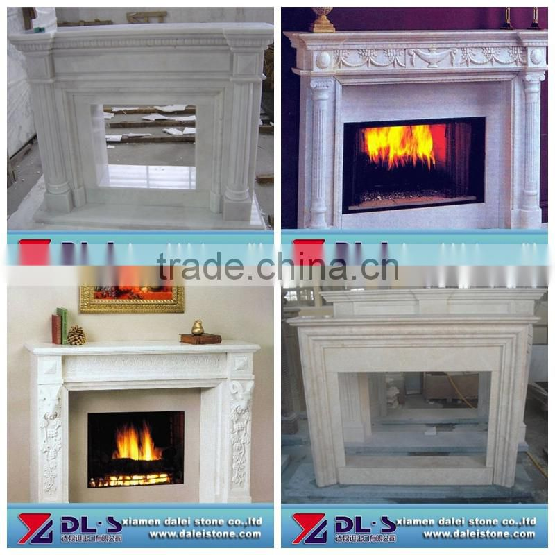 Red marble fireplace insert, art craft stone fireplace