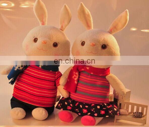 Funny rabbit plush toy with Scarves and clothes stuffed