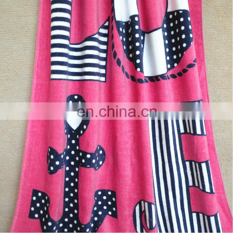 China factory wholesale hot sale pink love girls printed soft cotton beach towel