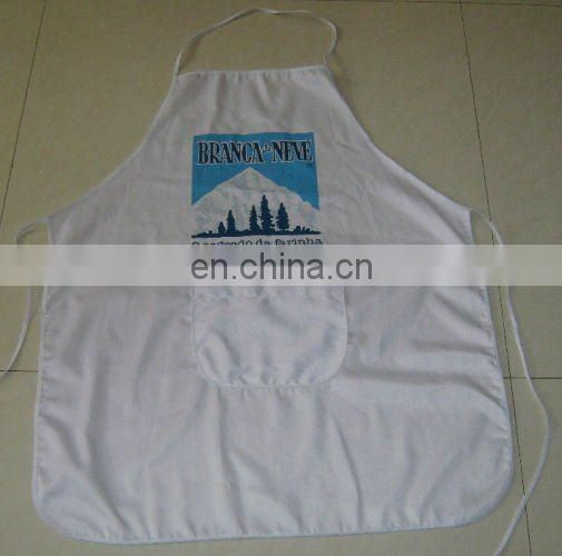 white color non wrinkle kitchen apron with pocket