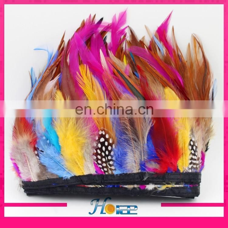 2017 hot selling New colorful rooster feather trim feather fringe for garment dressing sandals