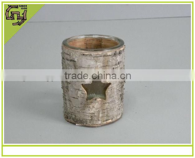 natural craft home decor birch bark glass candle holder