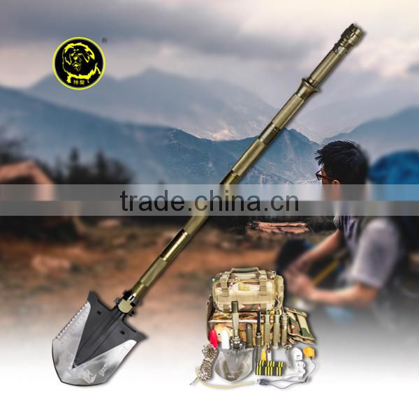 Rescue Equipment for Self-defence Tools Shovel with Aluminum Led Flashlight Multifunction Camping Tool Walking Ice-pickaxe