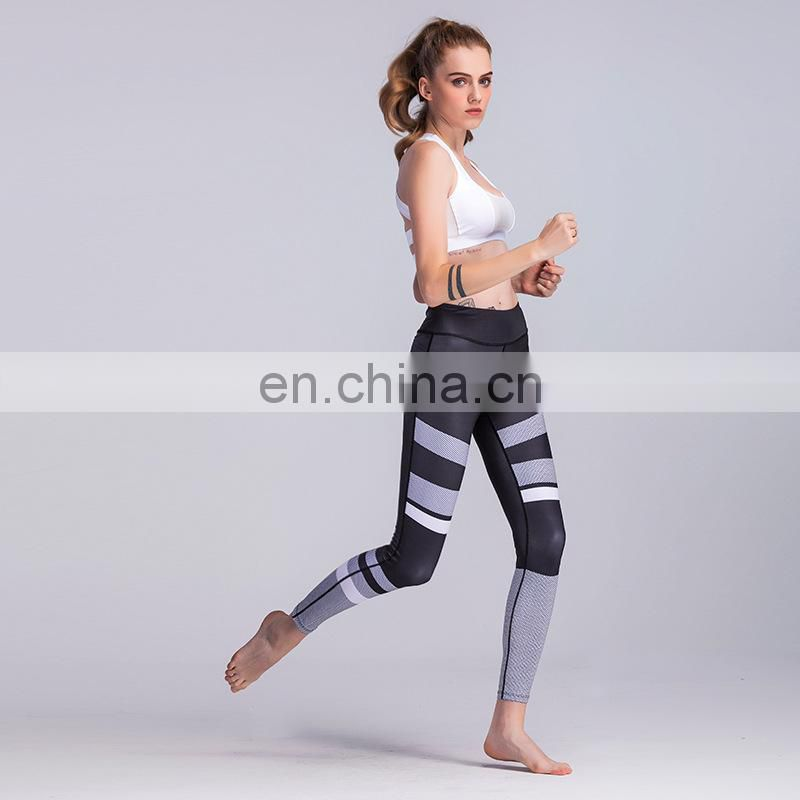 3D black and white printing yoga training pants women's slim comfortable tights leggings