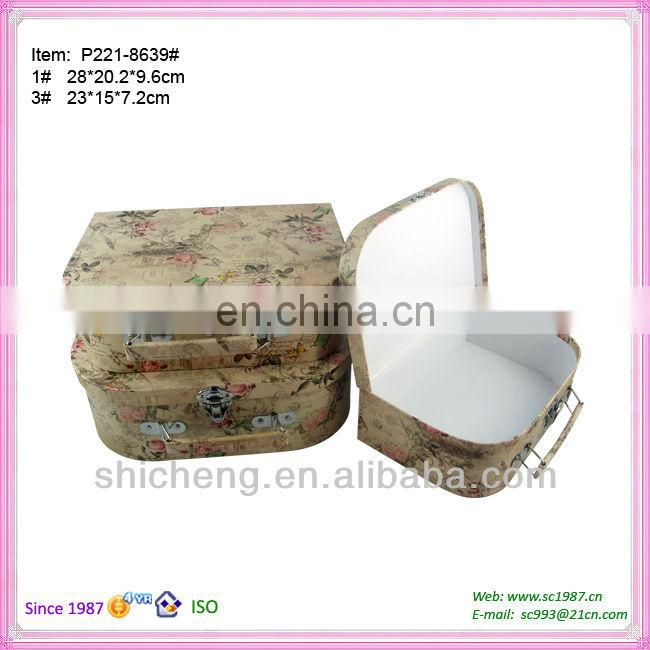 Paper cardboard suitcases box with handle for toys